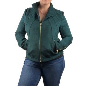 MARC NEW YORK ANDREW MARC teal green moto blazer